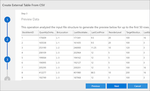 ads external table csv preview