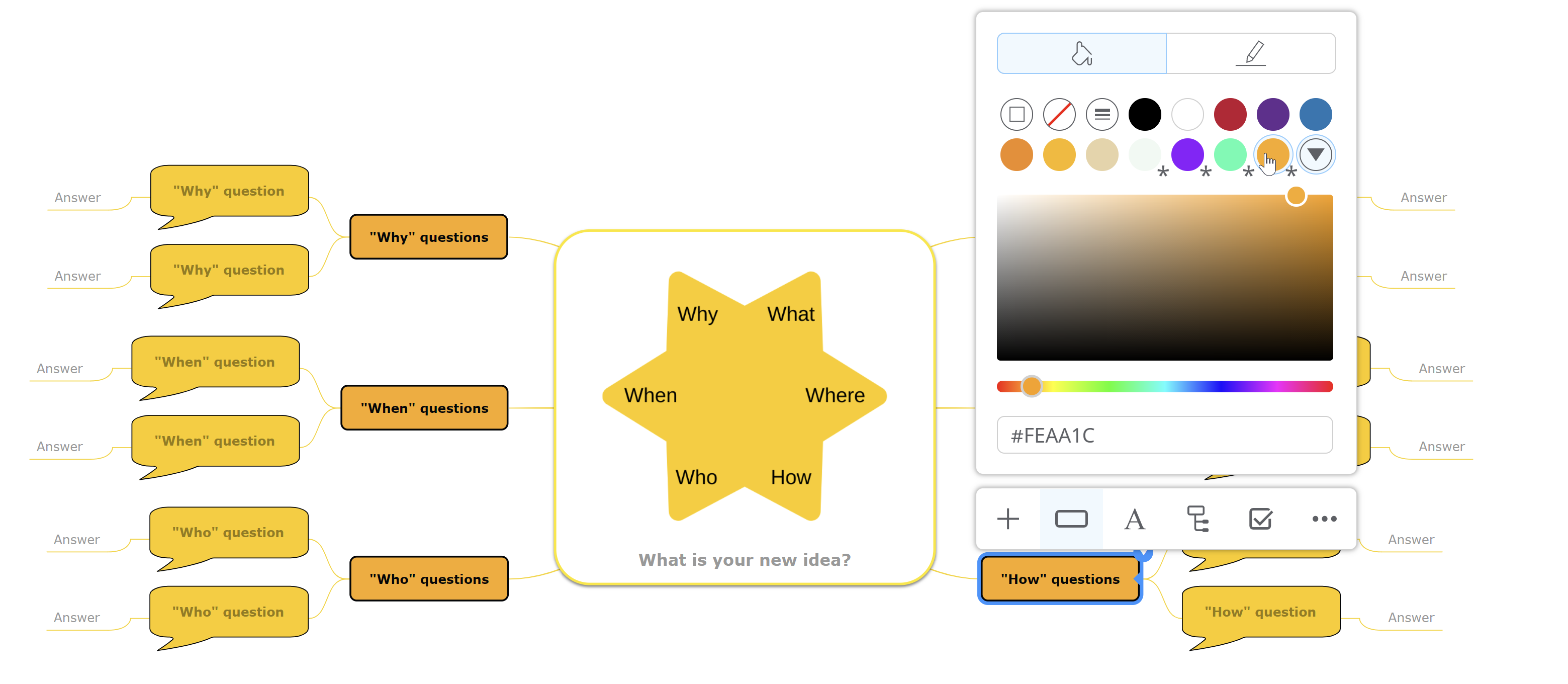 2. Color picker  - 2 - Mindomo launches a new interface that offers more space for mind maps and new functionalities