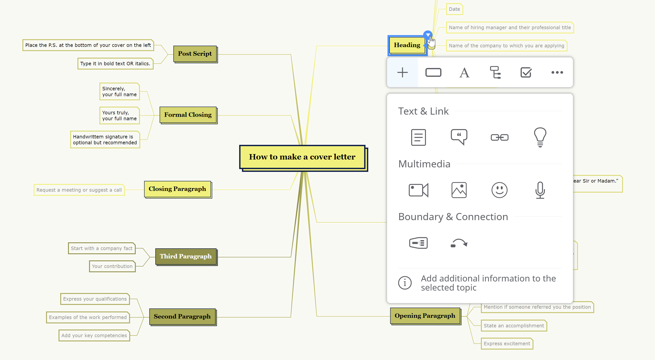 3. context menu  - 3 - Mindomo launches a new interface that offers more space for mind maps and new functionalities