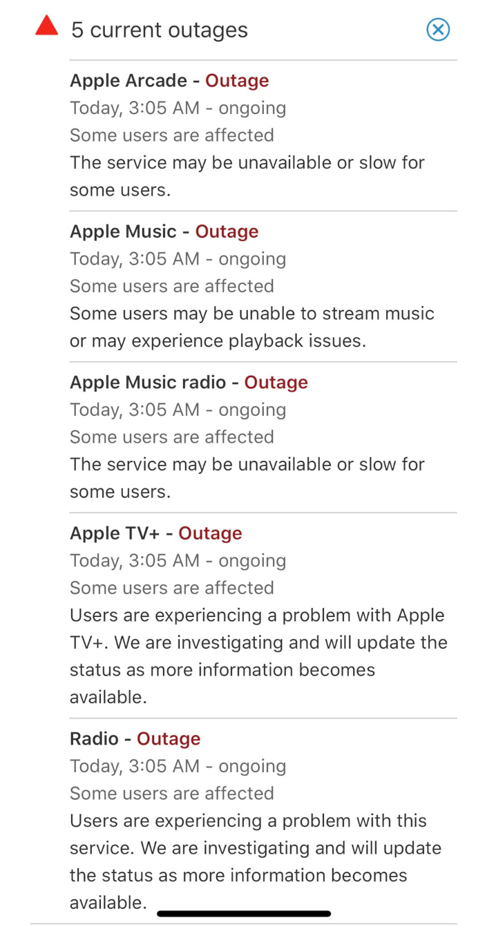 apple outages