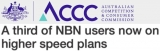 ACCC reports third of NBN users now on 'higher speed plans'