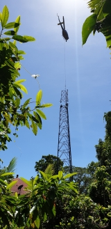 Optus used a helicopter to assemble part of the Cape Tribulation tower