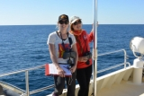 Grace Russell and Aisleen Dilks on board the Whale Song vessel, with the Centre for Whale Research, Western Australia.