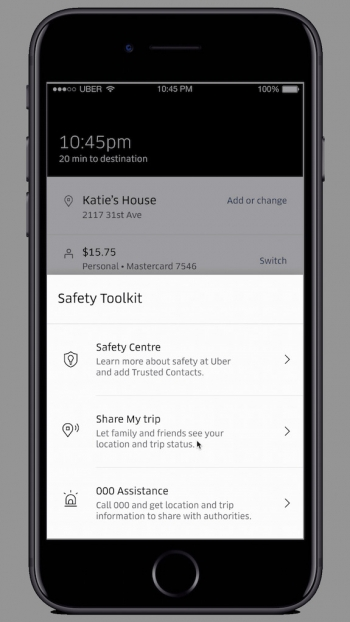 Uber launches 000 button in app for riders to 'improve safety'