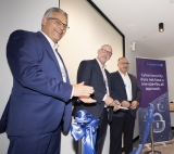 Geert van der Linden, Olaf Pietschner and Mick Dunne (CISO, Australian Super) cut the ribbon at the Melbourne SOC launch