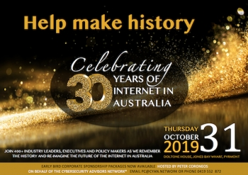 INVITATION: Celebrate 30 years of the Internet in Australia with a special Gala Dinner on October 31 in Sydney