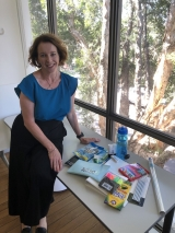 CHOICE Editor Marg Rafferty with supplies from the Back-to-School Basket Challenge