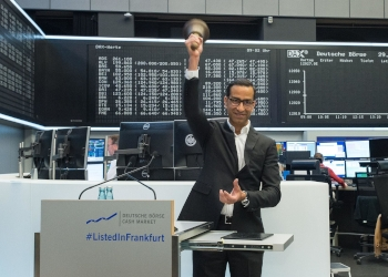 Software AG chief executive Sanjay Brahmawar ringing the opening bell at the Frankfurt Stock Exchange on Wednesday.