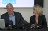 WikiLeaks editor-in-chief Kristinn Hrafnsson and lawyer Jennifer Robinson addressing the media in London.