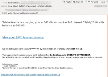 Scam email a fake Telstra media invoice