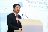Huawei deputy chairman Ken Hu speaks at the opening of the cyber security centre in Brussels on Tuesday.