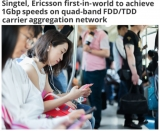 Singtel, Ericsson first with 1Gbps speeds on quad-band FDD/TDD carrier aggregation network