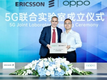Luca Orsini, head of Networks and vice-president, MNEA, Ericsson, with Andy Wu, vice-president of OPPO and president of  Software Engineering, at the launch of the joint 5G lab.