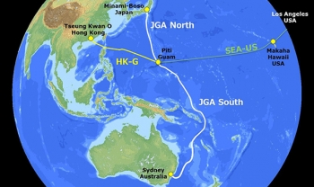 Route of Japan-Guam-Australia cable sysem