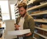 Jacob Blokland at Flinders University Palaeontology Laboratory.
