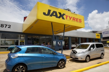 The first free, electric car charging station opened by Jax Tyres.