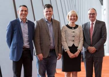 (L-R) Tom Goerke, Innovation Central, Cisco; Scott Harrell, senior vice-president and general manager enterprise networking, Cisco; Deborah Terry, vice-chancellor, Curtin University; Chris Moran, deputy vice-chancellor research, Curtin University