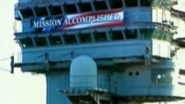 The Mission Accomplished banner that was on the ship where George W. Bush announced that the US had won the war with Iraq. That was May 2003 and American troops are still in Baghdad.
