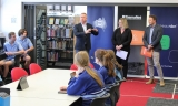 (L-R): Tasmanian Deputy Premier & Minister for Education and Training, Jeremy Rockliff; Federal Member for Bass, Bridget Archer; and TasmaNet CEO, Rob Vernon, chat with students at Kings Meadows High School in Launceston.