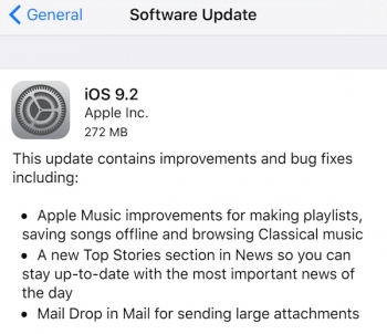 Apple launches iOS 9.2, Mac OS X 10.11.2, tvOS 9.1