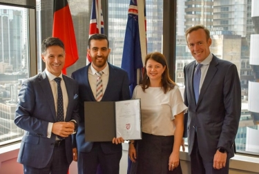 Aidan Tudehope (R), pictured at the awarding of the 2019 Western Sydney University cyber security scholarship