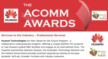 Huawei wins 'ACOMMS award' for services to local industry and innovative Seeds program